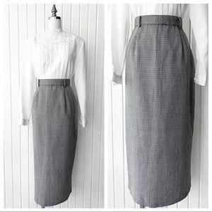 Vintage 90s Houndstooth Print Pencil Skirt